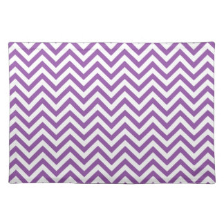 Purple and White Zigzag Stripes Chevron Pattern Placemat