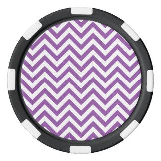Purple and White Zigzag Stripes Chevron Pattern Poker Chips