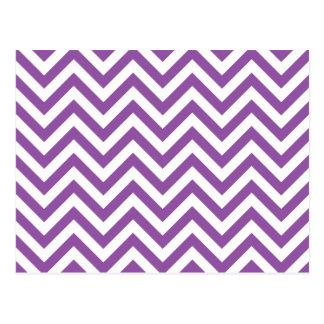 Purple and White Zigzag Stripes Chevron Pattern Postcard