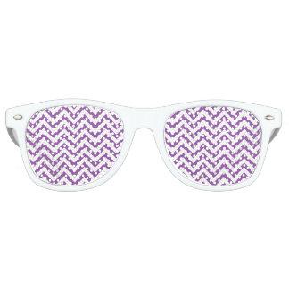 Purple and White Zigzag Stripes Chevron Pattern Retro Sunglasses