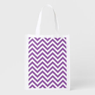 Purple and White Zigzag Stripes Chevron Pattern Reusable Grocery Bag