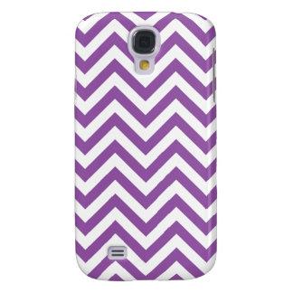 Purple and White Zigzag Stripes Chevron Pattern Samsung Galaxy S4 Covers