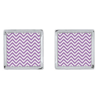 Purple and White Zigzag Stripes Chevron Pattern Silver Finish Cufflinks