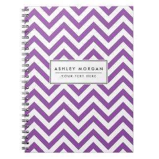 Purple and White Zigzag Stripes Chevron Pattern Spiral Notebook