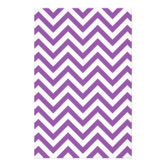 Purple and White Zigzag Stripes Chevron Pattern Stationery