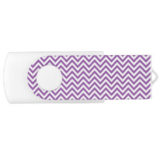 Purple and White Zigzag Stripes Chevron Pattern USB Flash Drive