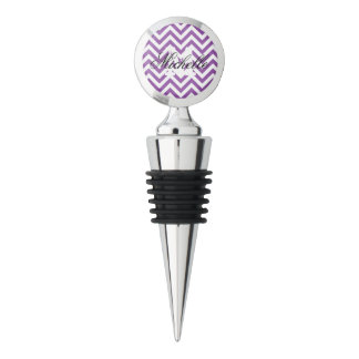 Purple and White Zigzag Stripes Chevron Pattern Wine Stopper