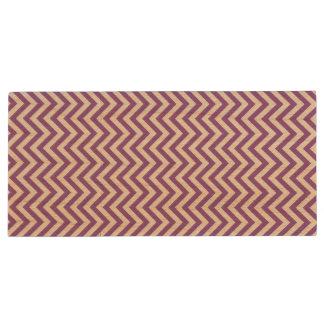 Purple and White Zigzag Stripes Chevron Pattern Wood USB Flash Drive