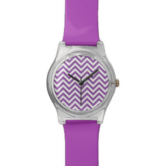 Purple and White Zigzag Stripes Chevron Pattern Wrist Watch