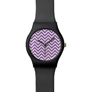 Purple and White Zigzag Stripes Chevron Pattern Wristwatch