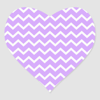 Purple and White Zigzag Stripes. Heart Sticker