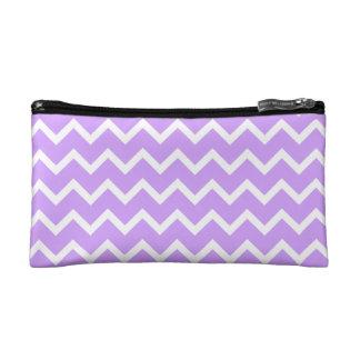 Purple and White Zigzag Stripes. Makeup Bag