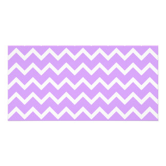 Purple and White Zigzag Stripes. Picture Card