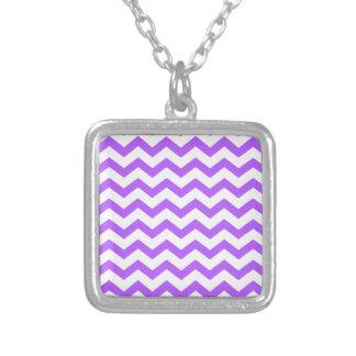 Purple and White Zigzags Square Pendant Necklace