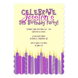 Purple and Yellow Candles Girls Birthday Invite