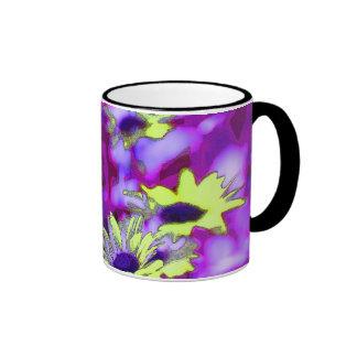 Purple and Yellow Daisies Ringer Mug
