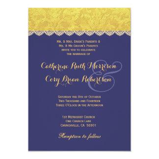 Purple and Yellow Damask Wedding Invitation R436A