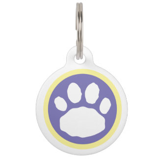 Purple and Yellow Easter Paw Pet Name Tag