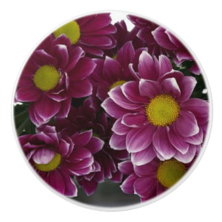 Purple and Yellow Floral Ceramic Pull