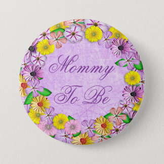 "Purple and Yellow Floral ""Mom to be"" Button"