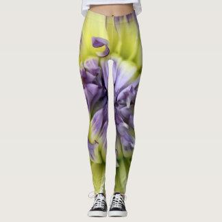 purple and yellow flower leggings