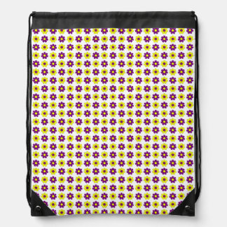 Purple and yellow flowers drawstring bag