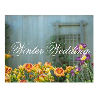 Purple and Yellow Flowers Wedding Postcard