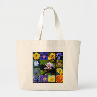 Purple and Yellow Garden Mosaic Large Tote Bag