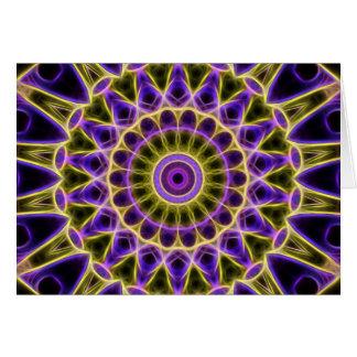 Purple and Yellow Glow Kaleidoscope greeting card