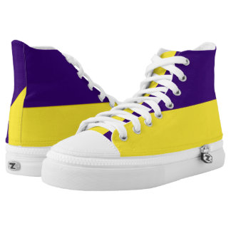 Purple and Yellow-Gold Two-Tone Hi-Top Printed Shoes