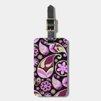 Purple and Yellow Paisley Luggage Tag