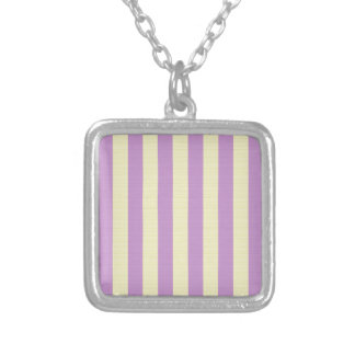 Purple and yellow stripes pattern silver plated necklace