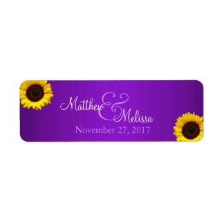 Purple and Yellow Sunflower Stamp Return Address Label