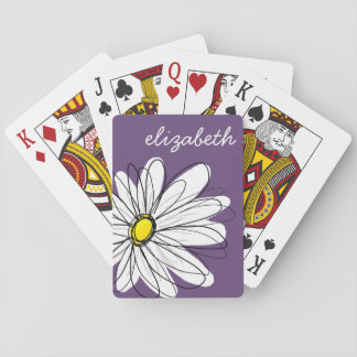 Purple and Yellow Whimsical Daisy Custom Text Deck Of Cards