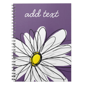 Purple and Yellow Whimsical Daisy Custom Text Notebook