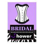 Purple and Zebra Bridal Shower Corset Invitation