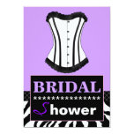 """Purple and Zebra Bridal Shower Corset Invitation 5"""" X 7"""" Invitation Card"""