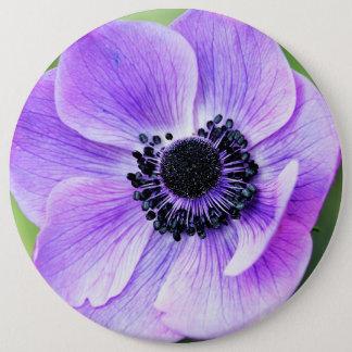 Purple anemone flower 6 cm round badge