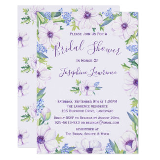 Purple Anemone Hyacinth Spring Bridal Shower Card
