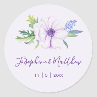 Purple Anemone Hyacinth Spring Wedding Classic Round Sticker