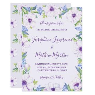 Purple Anemone Hyacinth Spring Wedding Invitations