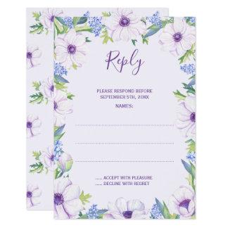 Purple Anemone Hyacinth Spring Wedding Reply Cards