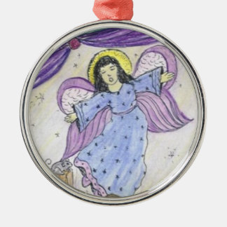 Purple Angel and mouse Silver-Colored Round Decoration