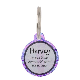 Purple angel pattern with flowers pet nametag