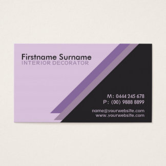 Purple Angles Stylish Interior Decorator w/ Logo Business Card