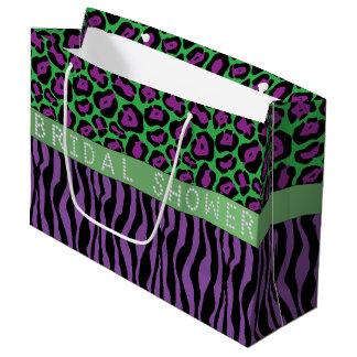 Purple Animal Print Diamond Bridal Shower LG Large Gift Bag