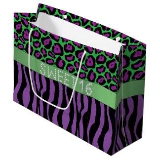 Purple Animal Print Diamond Sweet 16 Gift Bag L