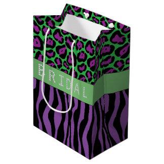 Purple Animal Prints Diamond Bridal Shower Medium Gift Bag