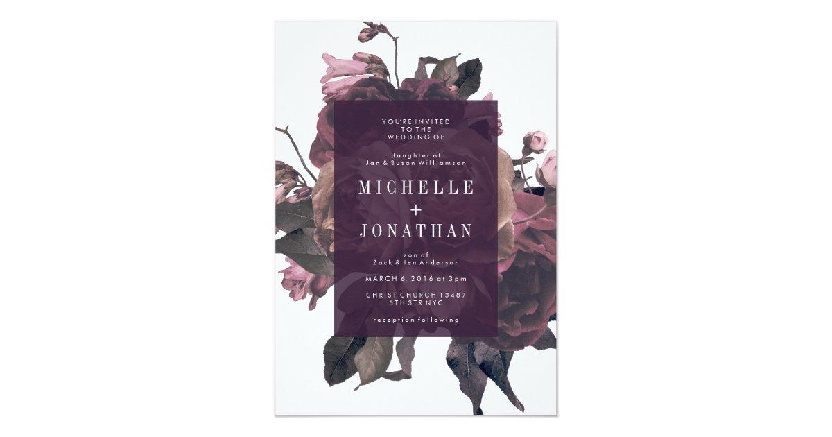 Purple Rose Wedding Invitations: Purple Antique Roses Vintage Wedding Invitation