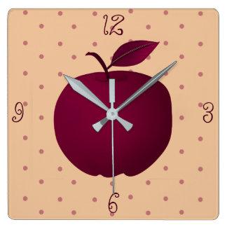 Purple Apple Romantic Girl Sensual Polka Dots Pale Square Wall Clock